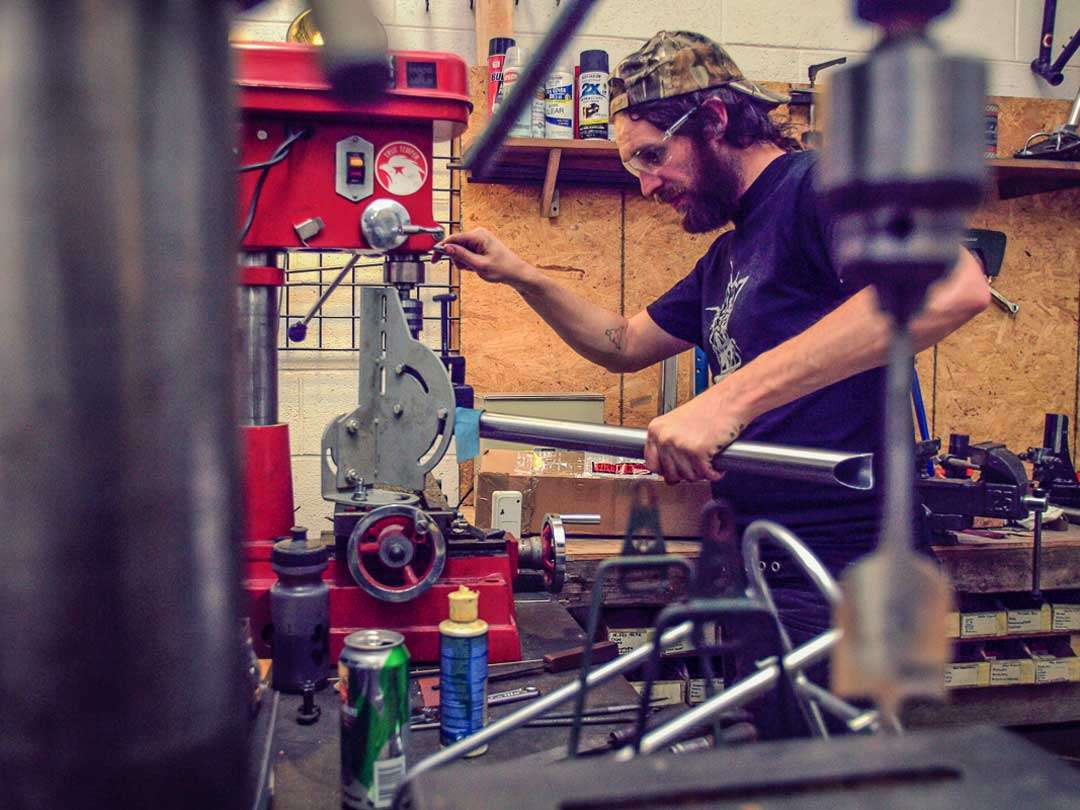 Mitering tubes on a drill press -Ben Swanson photo