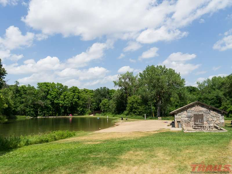 The swimming beach and changing house at Camden State Park