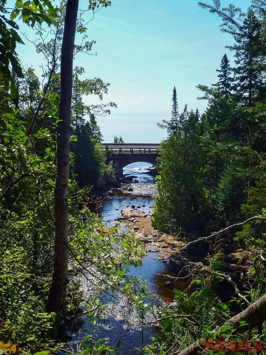 View of Lake Superior and the highway 61 bridge at Cascade River State Park