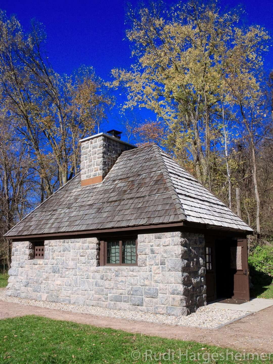 Restored CCC stone cabin at Flandrau State Park