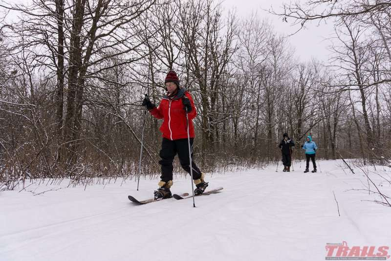 Exploring the park on ski shoes at Lake Bronson State Park