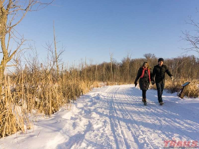 Winter hiking near Hidden Lake at Lake Carlos State Park