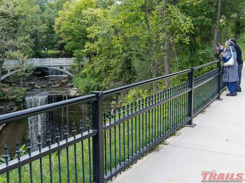 A short walk takes visitors to the waterfall viewing area at Minneopa State Park