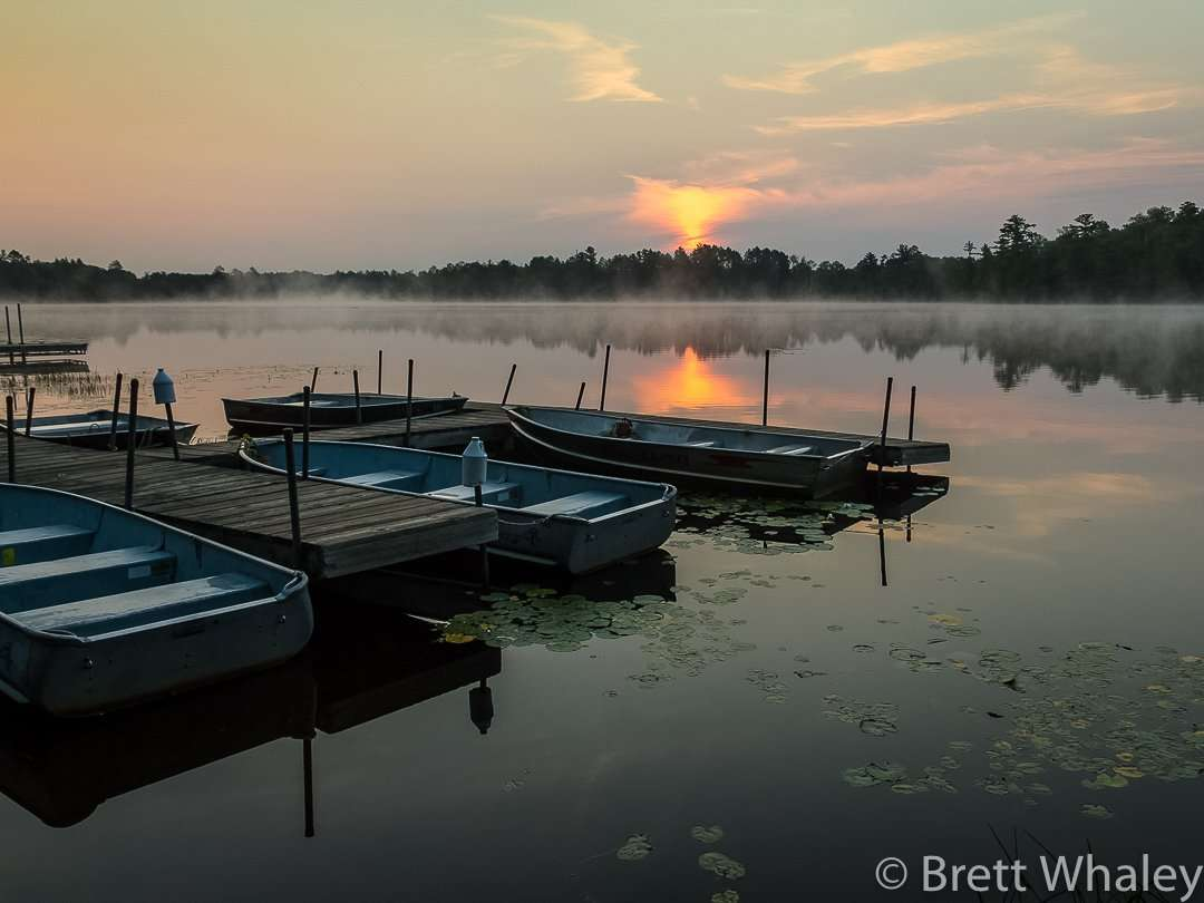 Rental boats waiting for the day's business at Savanna Portage State Park