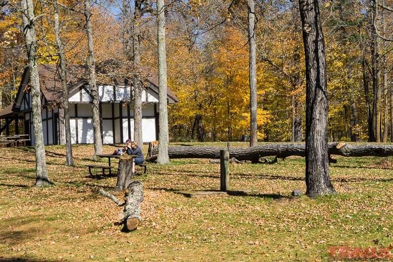 Picnic area at Loon Lake at Savanna Portage State Park