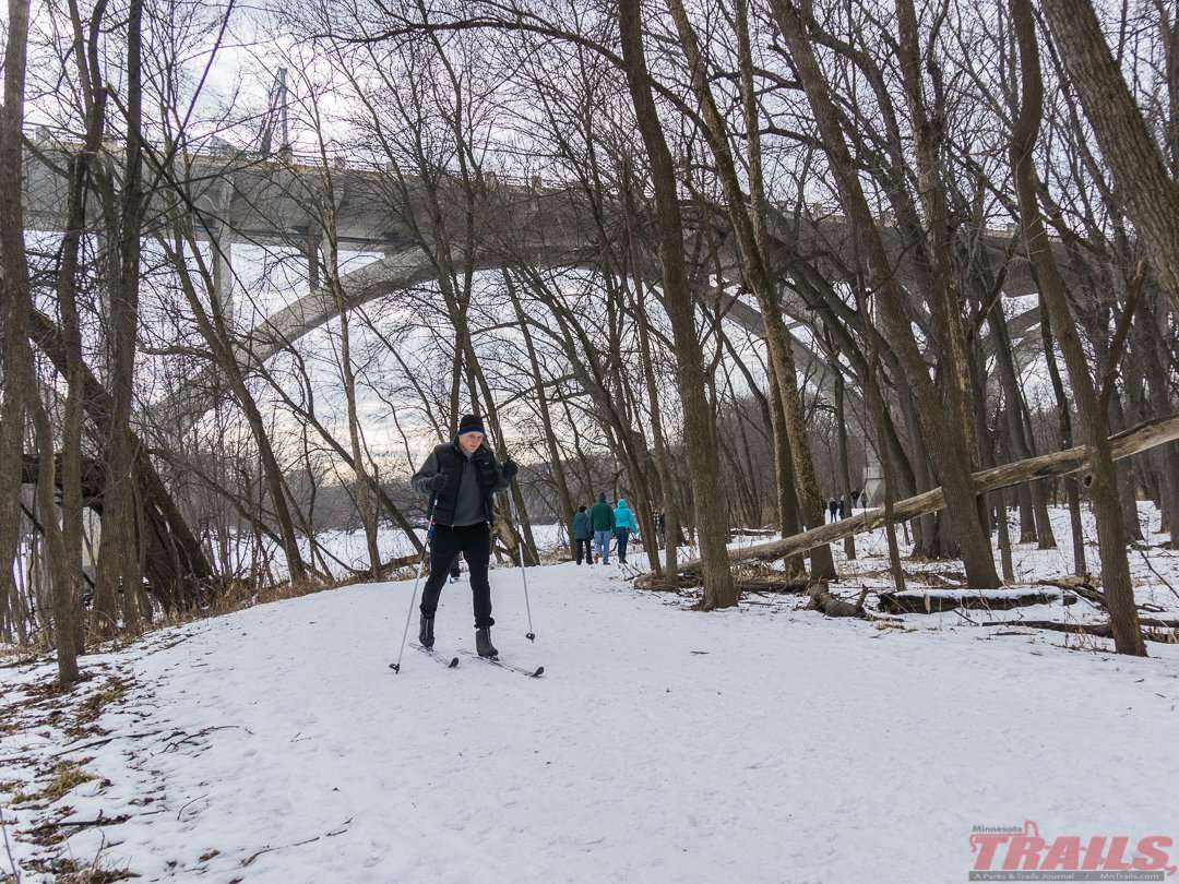 Skier near the Mendota Bridge at Fort Snelling State Park