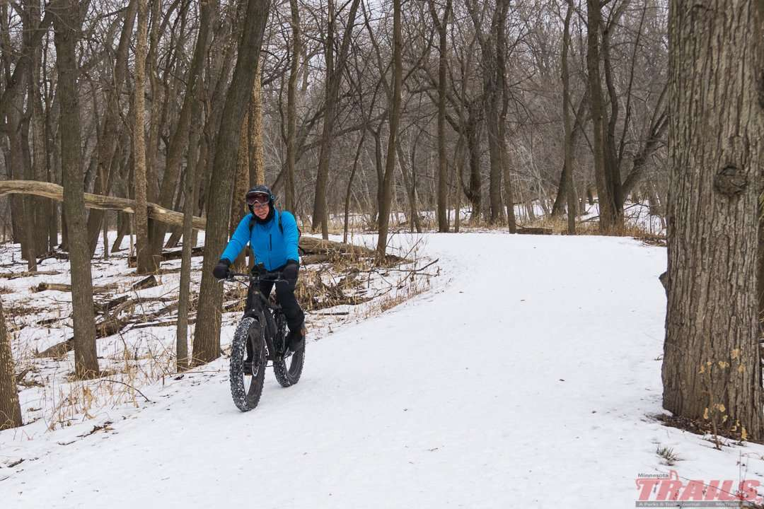 Fat biking is popular on the multi-use trails at Fort Snelling State Park
