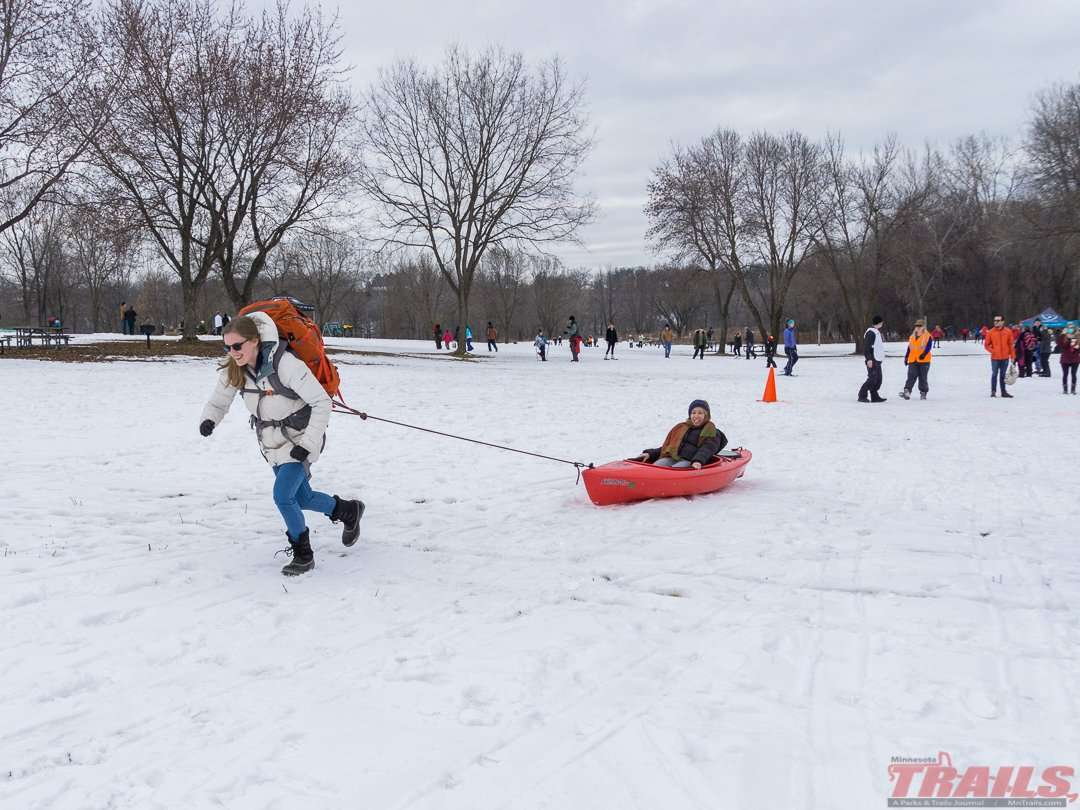 Having some fun on Winter Trails Day at Fort Snelling State Park