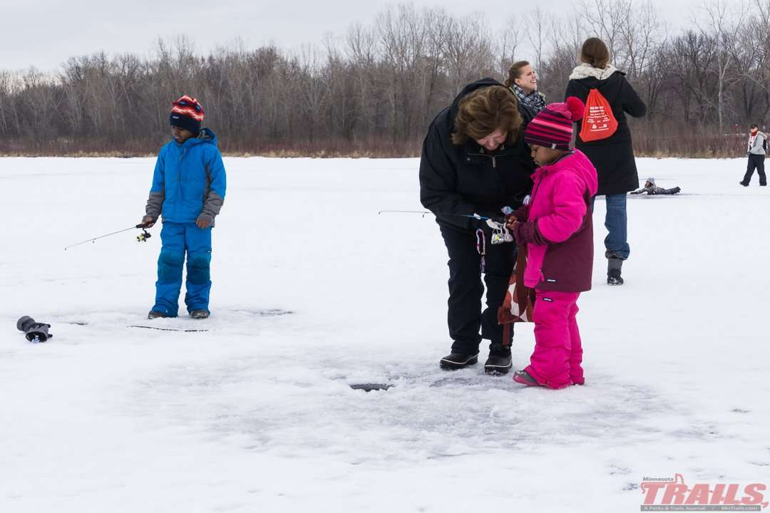 Young anglers can try ice fishing on Lake Snelling at Fort Snelling State Park