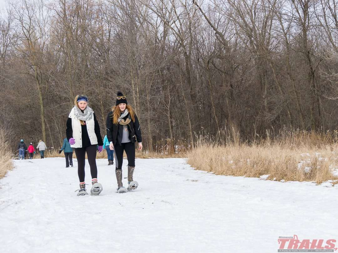 Snowshoeing is allowed throughout the park, except groomed ski trails at Fort Snelling State Park