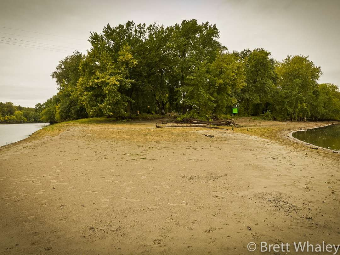 At the confluence of the Minnesota River on the left and the Mississippi River on the right at Fort Snelling State Park