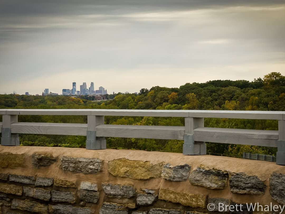 View of the Minneapolis Skyline from the round stack at Fort Snelling