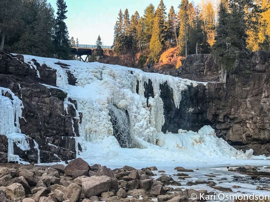 Middle Falls takes on a whole different shape in the winter at Gooseberry Falls State Park