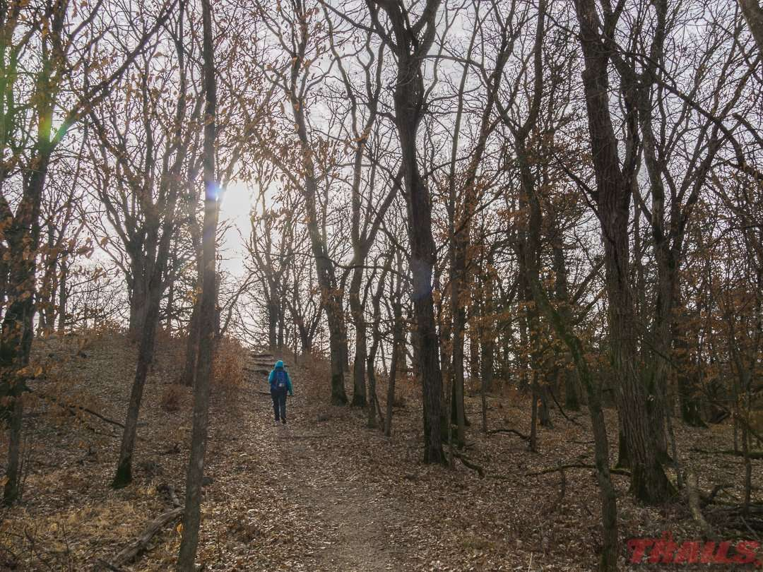 The hiking trail to Little Mount Tom at Sibley State Park
