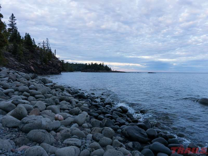 The rocky beach near the campground at dusk at Split Rock Lighthouse State Park