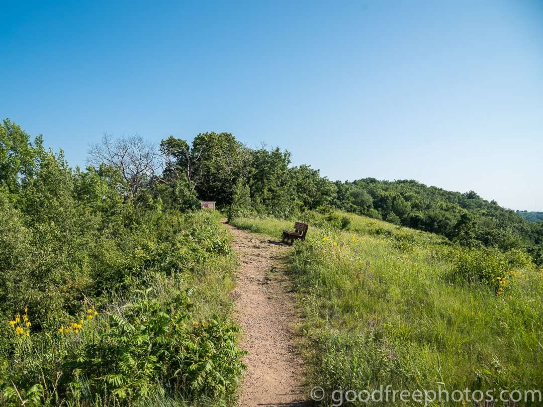 Hiking trail to thre top of a bluff at Great River Bluffs State Park