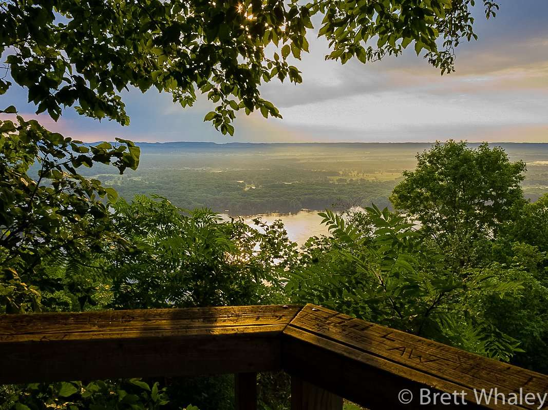 One of the nine scenic overlooks with views of the Mississippi River at Great River Bluffs State Park