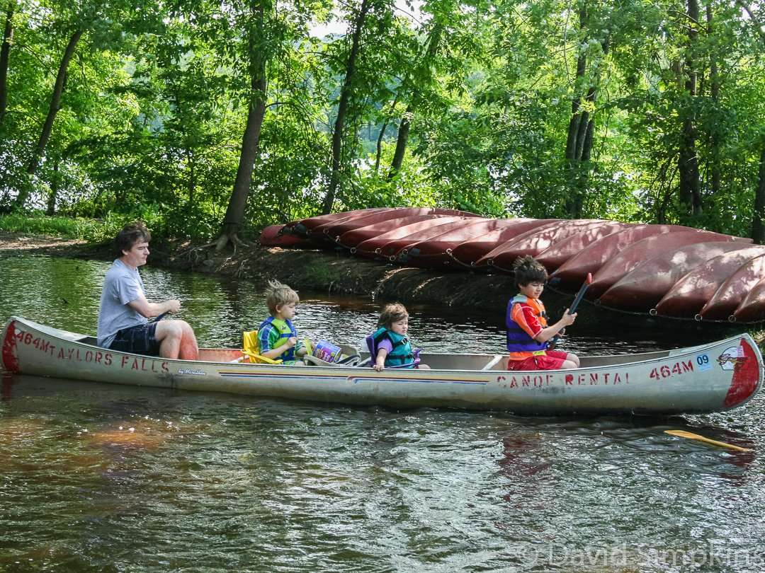 Canoeing on the lazy waters of the St. Croix River is a popular pastime at Interstate State Park