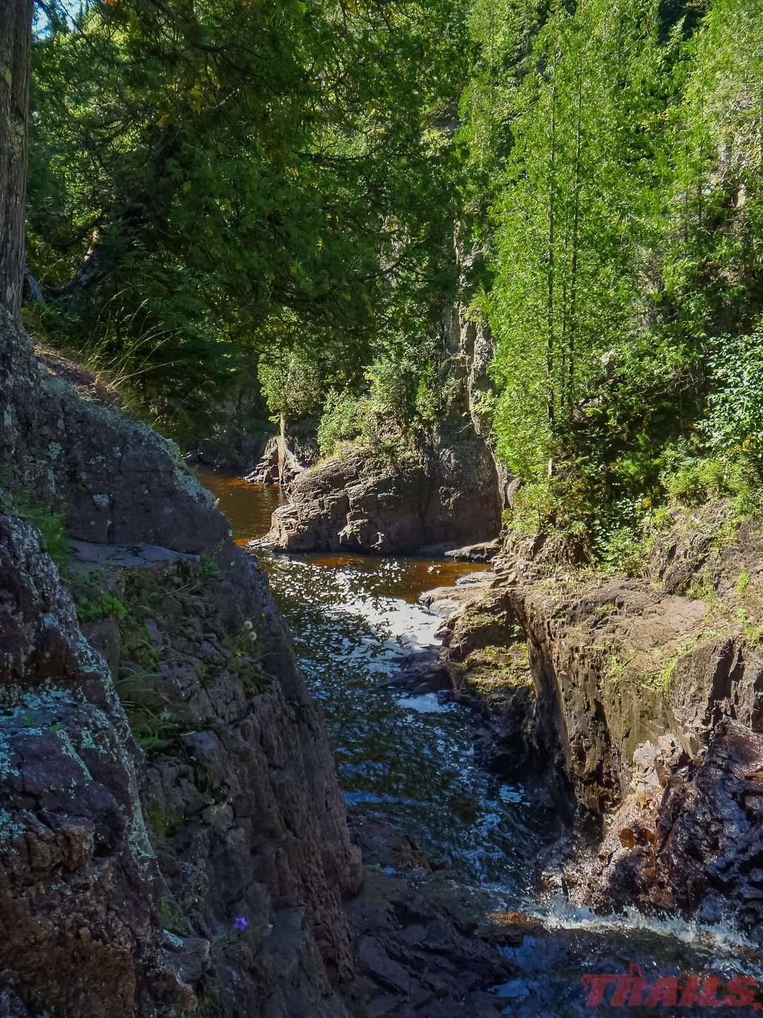 The Brule River has carved a massive gorge into the volcanic rock over time at Judge C.R. Magney State Park