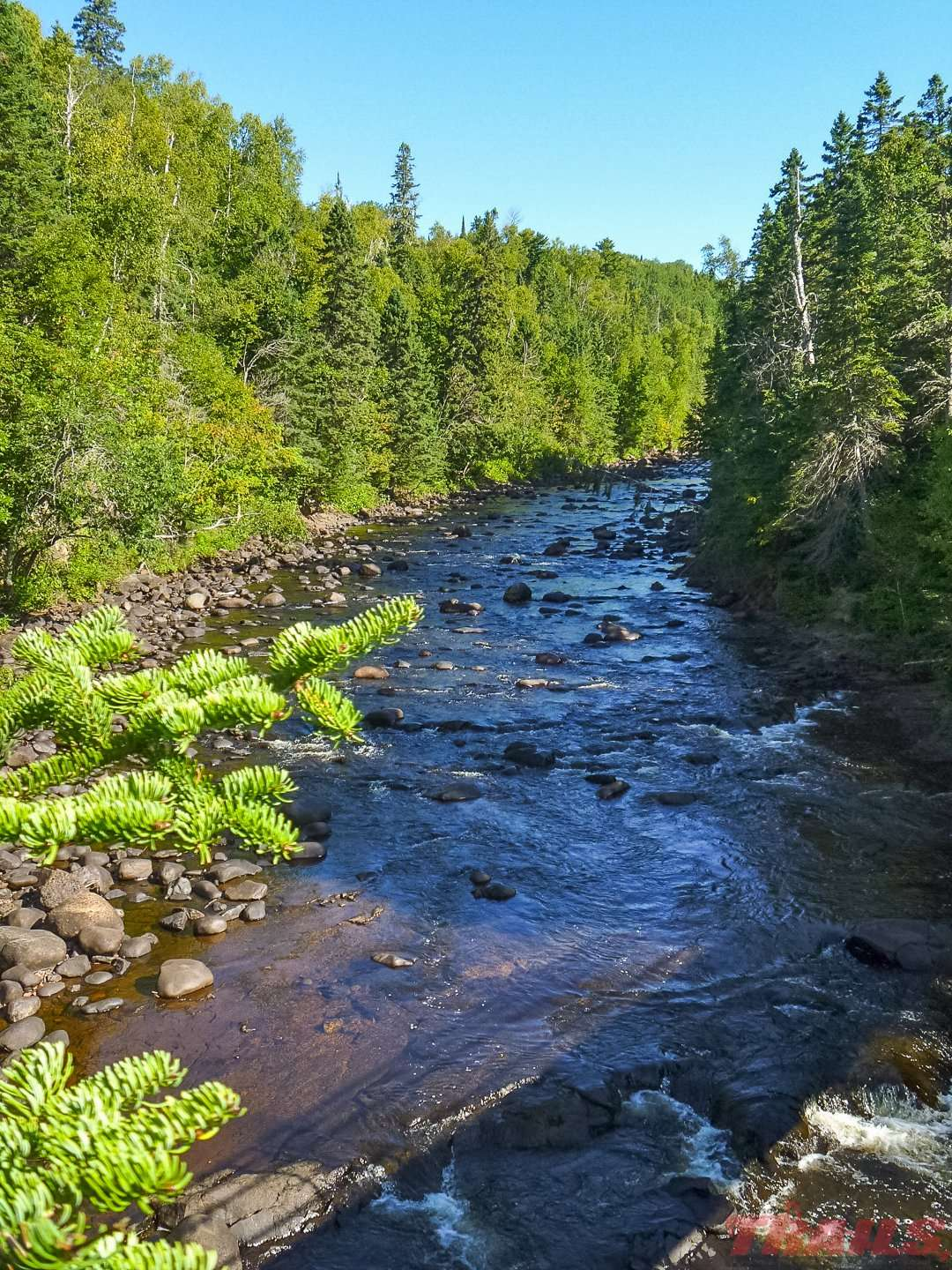 The Brule River flows through Judge C.R. Magney State Park and empties into Lake Superior