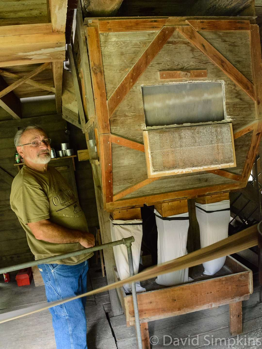 The sifting mechanism of the grist mill fill bags of flour at Old Mill State Park