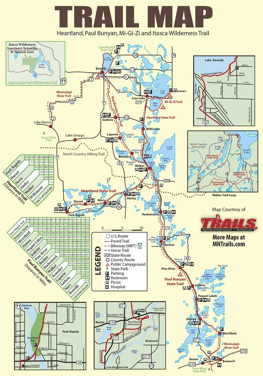 Paul Bunyan/Heartland State Trail map