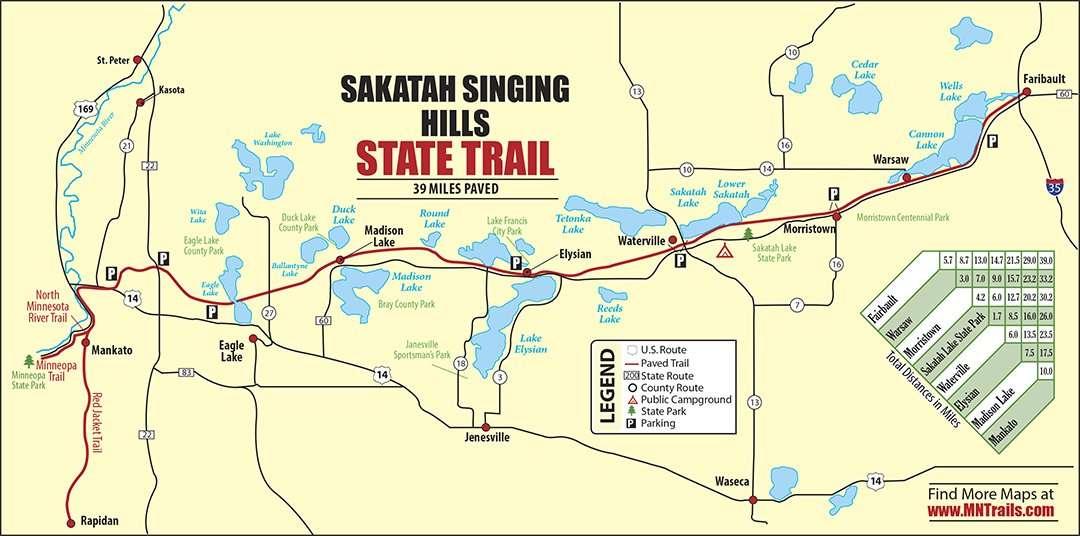 Sakatah Singing Hills State Trail map