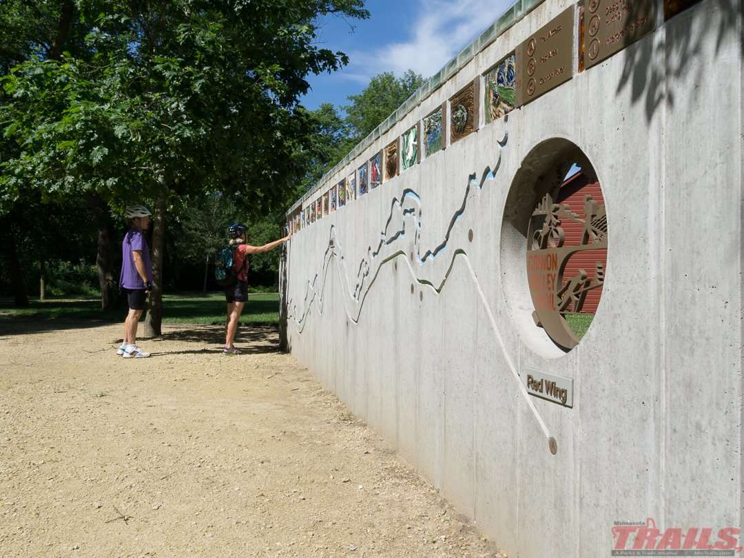 Mural wall with trail map at the Welch rest area on the Cannon Valley Trail