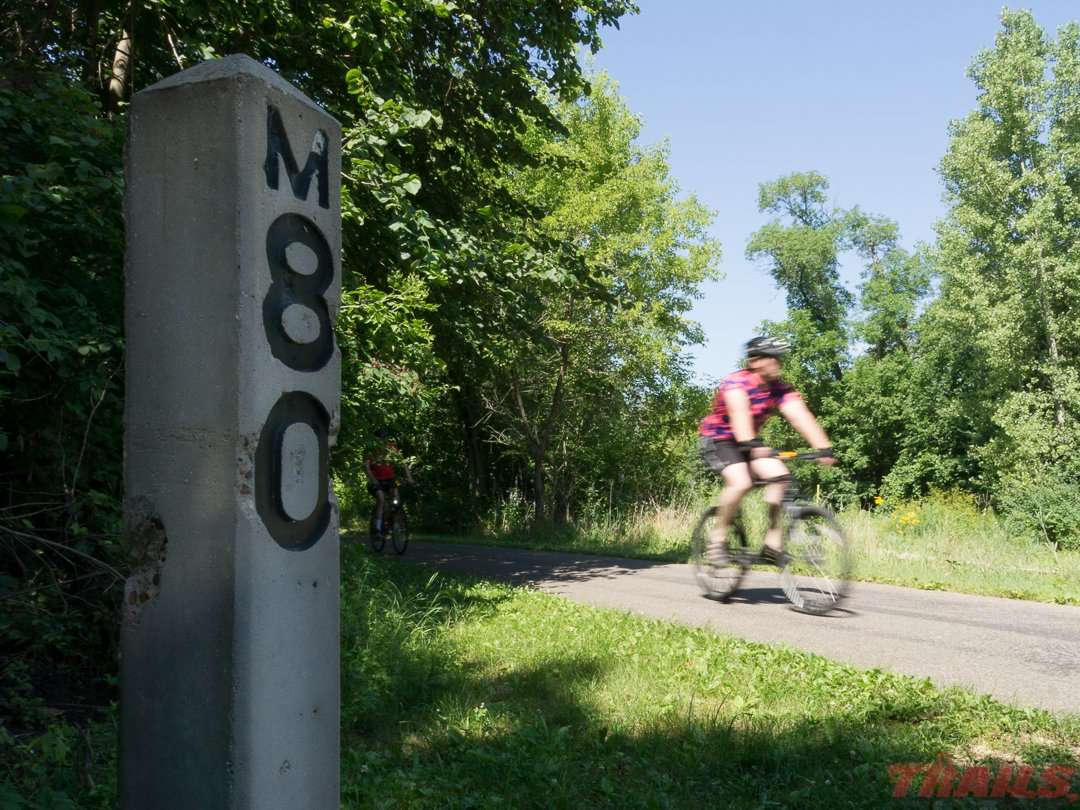 These mile markers show the distance from Mankato, MN on the old Chicago Great Western Railroad on the Cannon Valley Trail