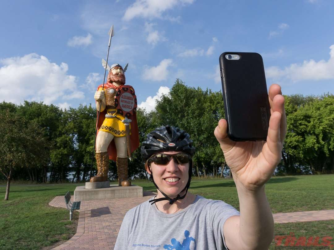Stop for a selfie with Big Ole in Alexandria on the Central Lakes State Trail
