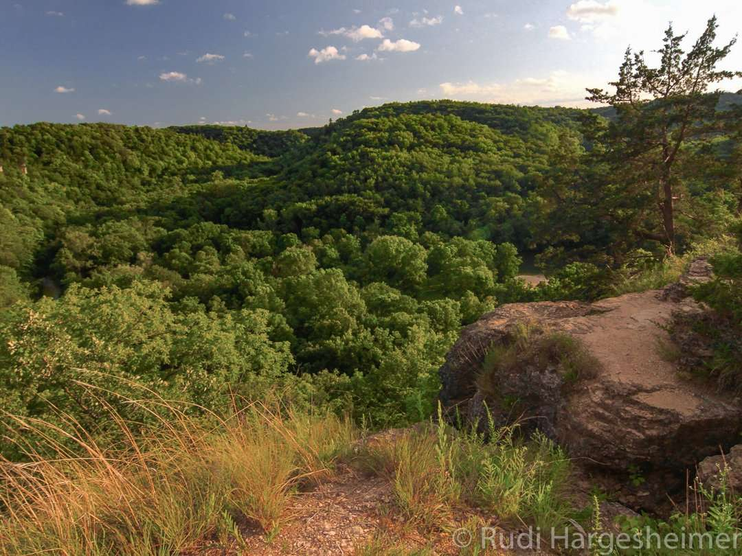 Fantastic valley views at Chimney Rock Point at Whitewater State Park