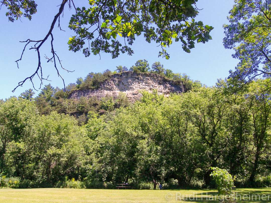 View of the bluffs from the picnic area at Whitewater State Park