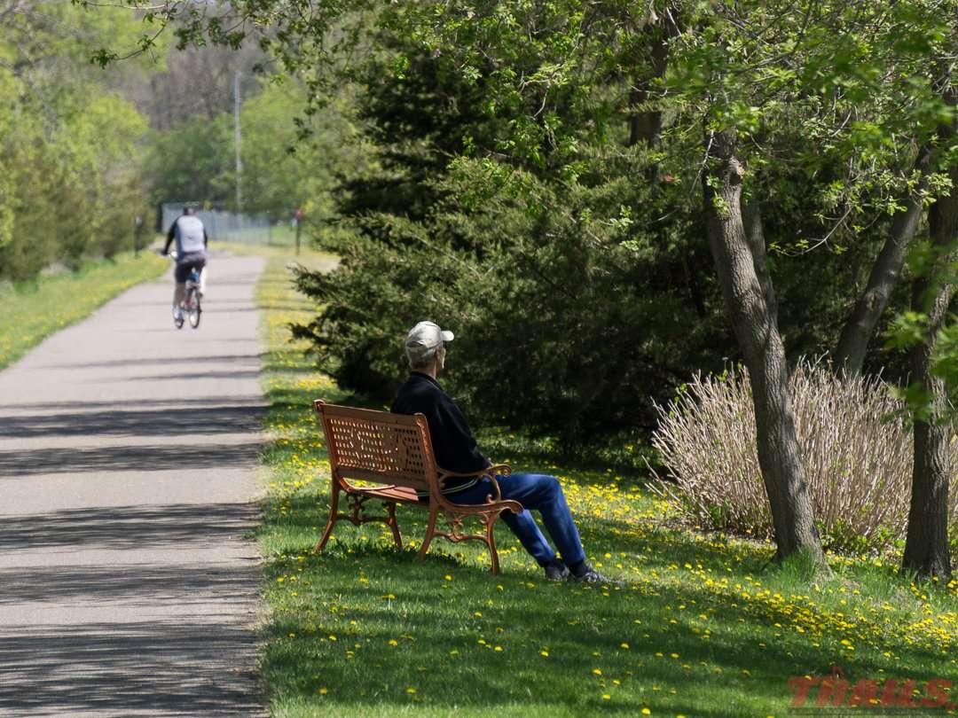 Taking a break near Avon on the Lake Wobegon Trail