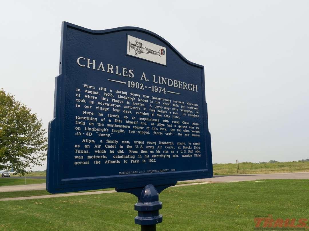 Historical marker near Madison Lake on the Sakatah Singing Hills State Trail
