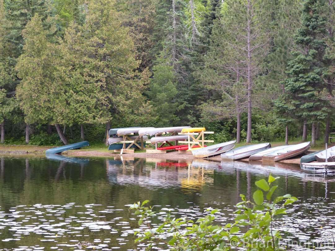 Rental boats wait for visitors on the shores of Coon Lake at Scenic State Park