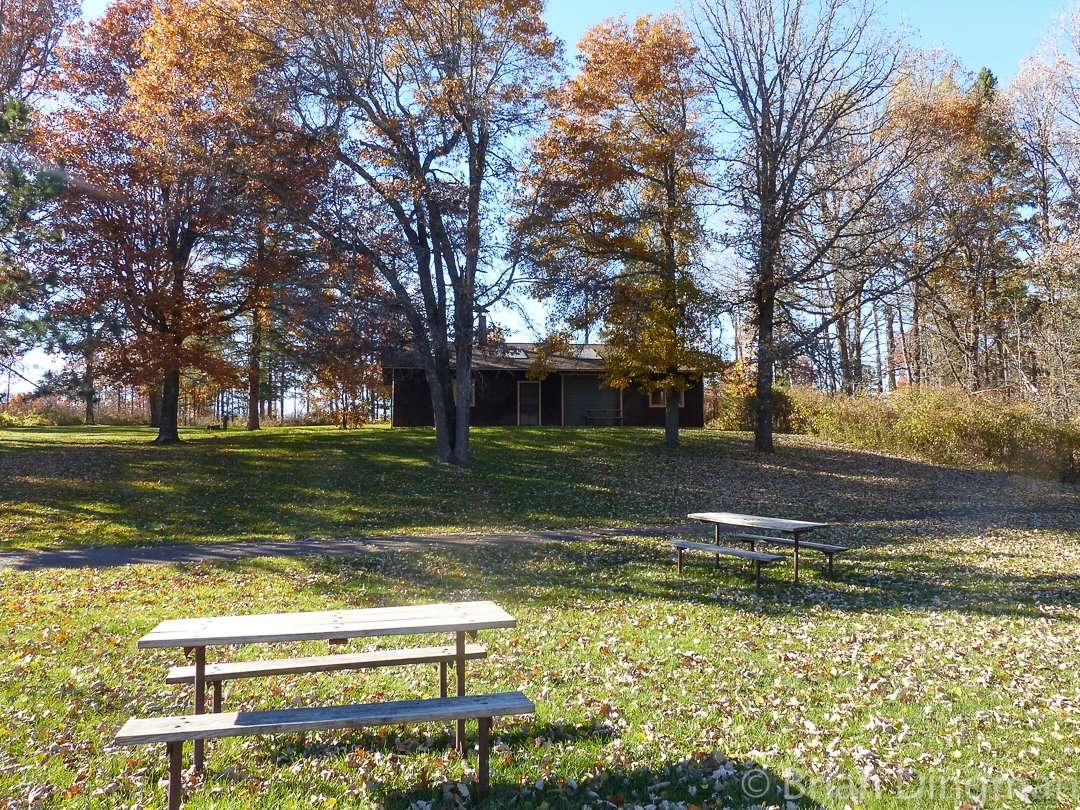 Picnic area at the beach at St. Croix State Park