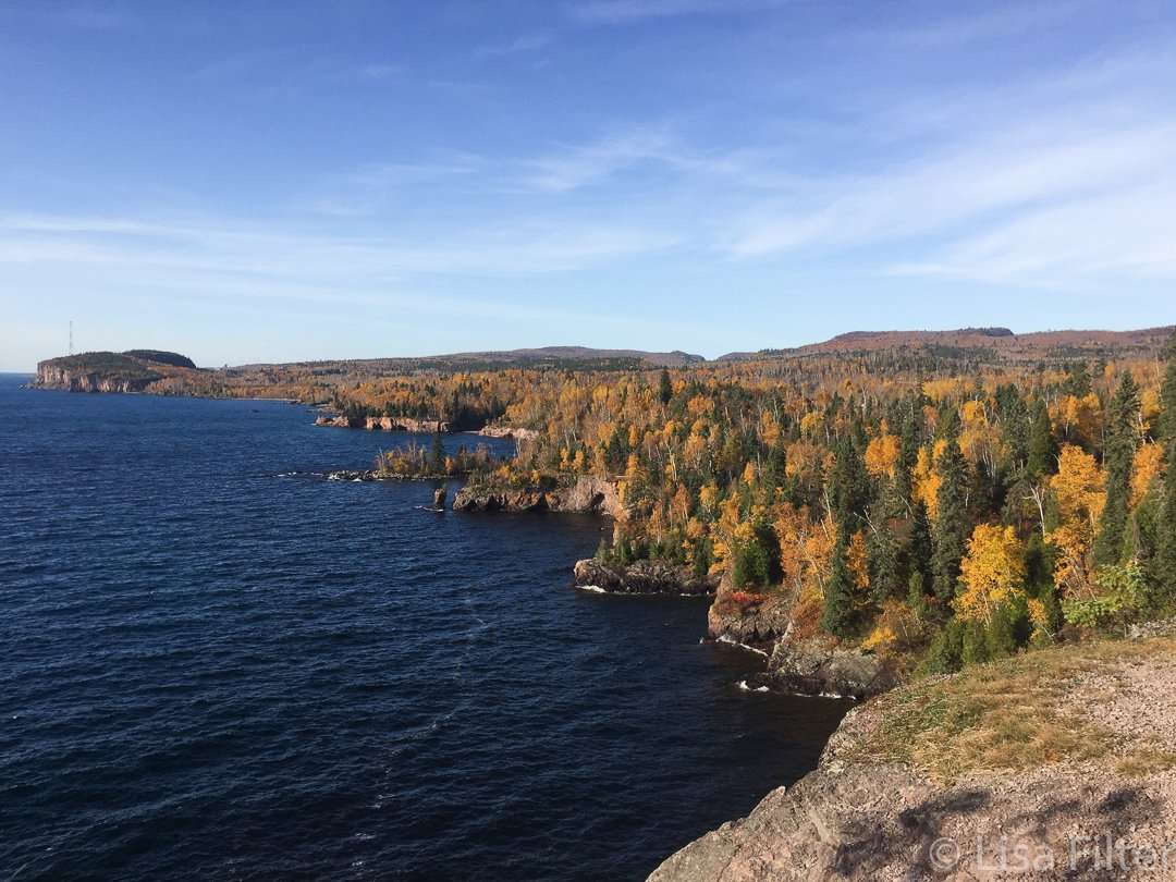 Shovel Point, one of two dozen scenic overlooks, has spectacular views of Lake Superior's coastline at Tettegouche State Park