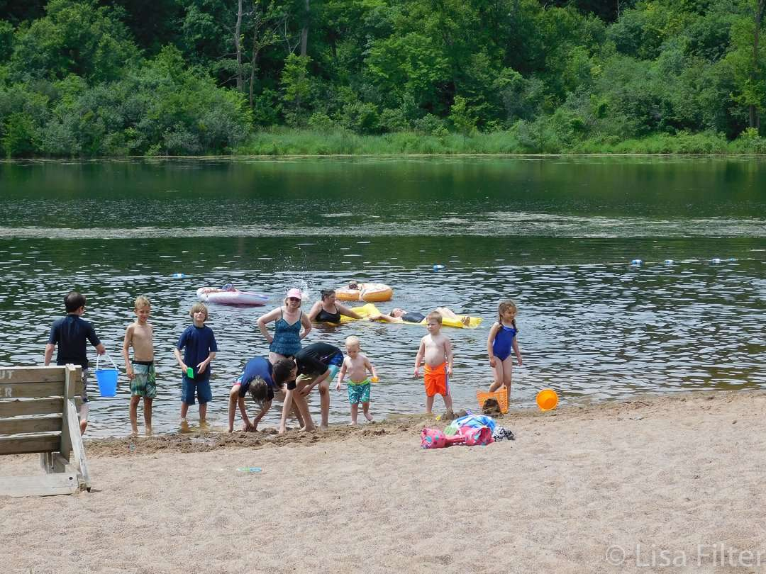 The swimming beach at Lake Alice at William O'Brien State Park