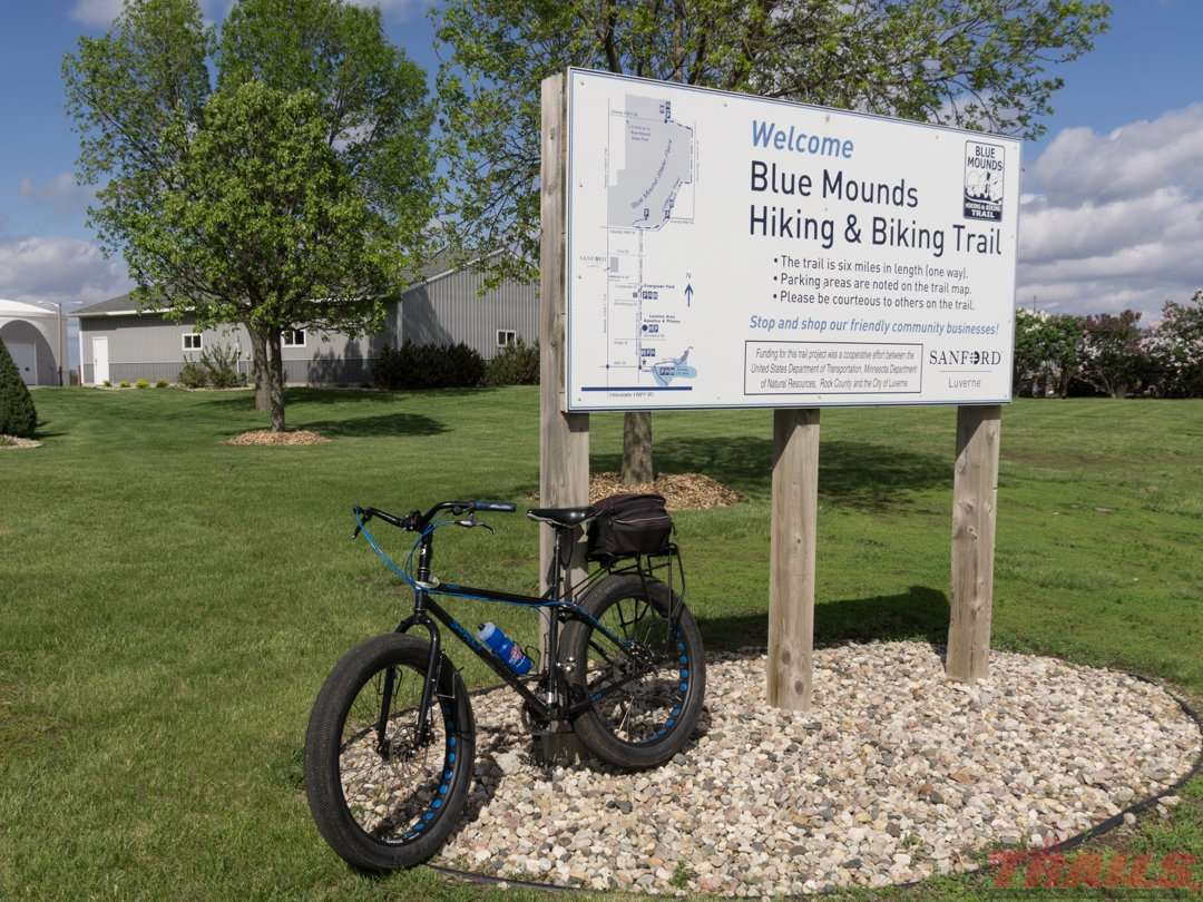 The trailhead is located at the corner of North Blue Mound Ave and East Fairway Drive in Luverne on the Blue Mound Trail