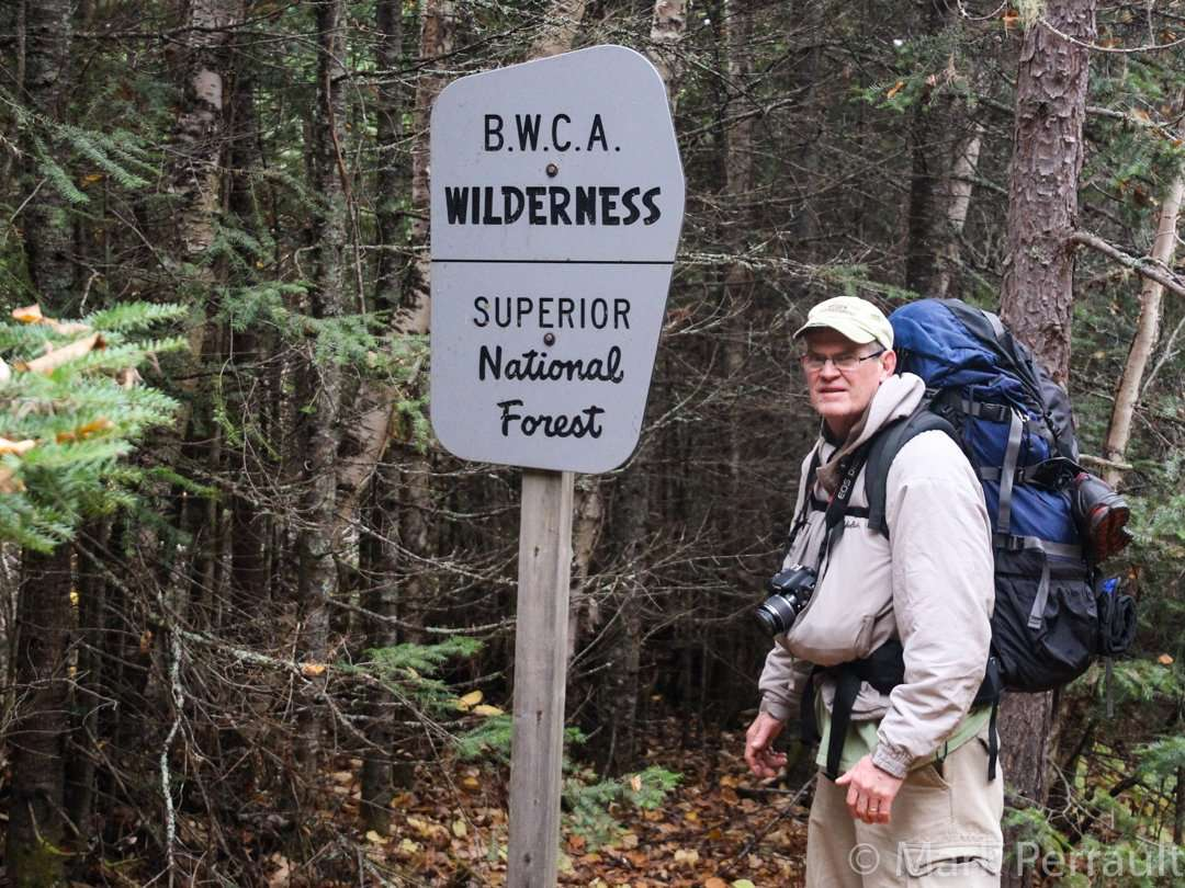 A reminder of where you are: Sign in the wilderness on the Border Route Trail