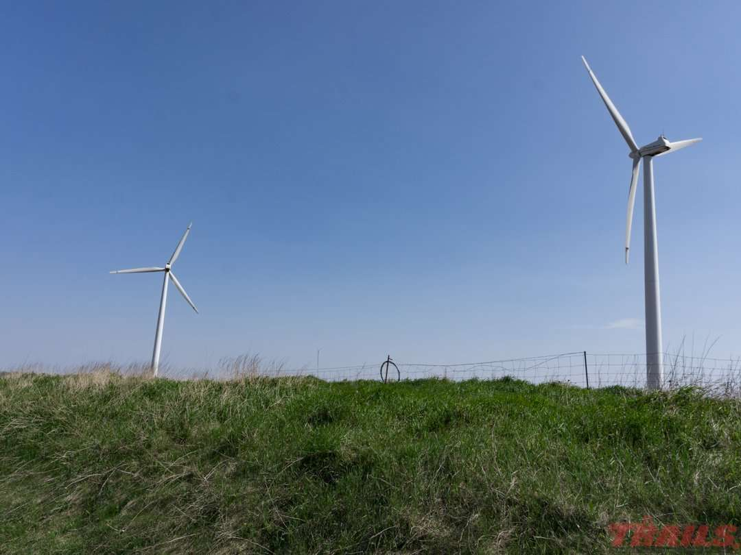 Wind turbines are a common sight on the open stretches of the Casey Jones State Trail