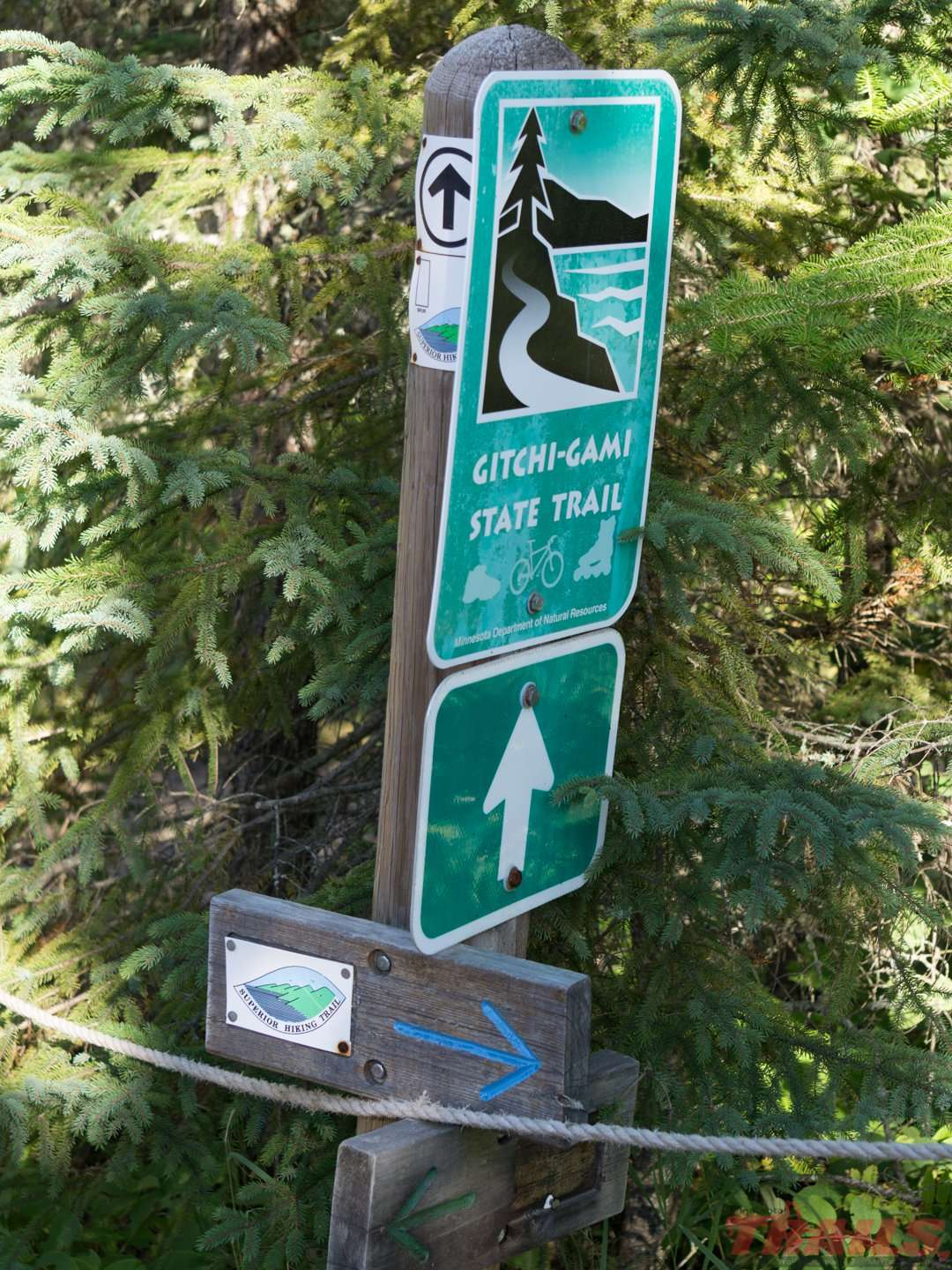 The Gitchi-Gami State Trail and Superior Hiking Trail cross paths at Temperance River State Park