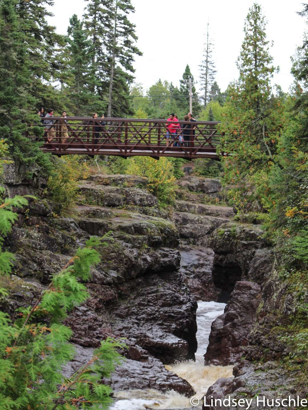 The bridge over the upper gorge at Temperance River State Park is part of the Gitchi-Gami State Trail