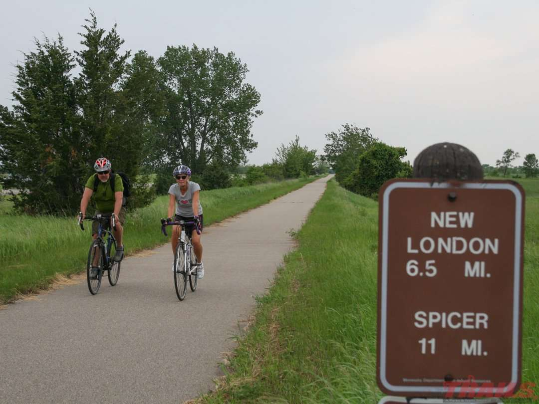 The Glacial Lakes State Trail is built on an old railroad grade and has gentle elevation changes