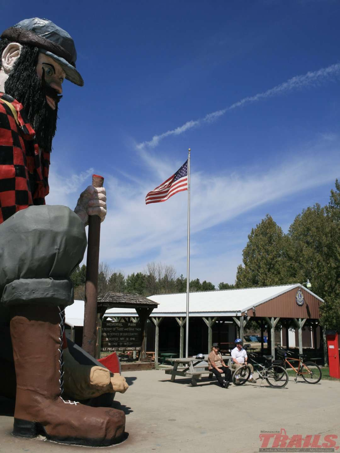 At the Akeley trailhead Paul Bunyan has been inviting visitors for a photo op since 1985 on the Heartland State Trail