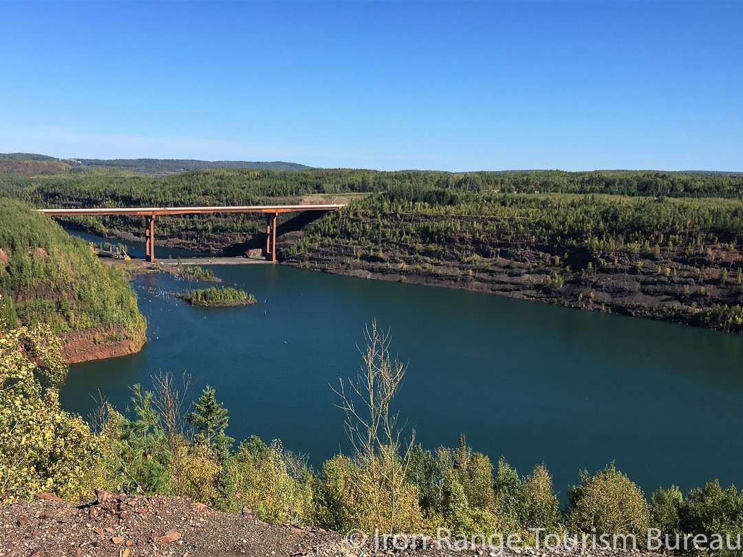 The Highway 53 bridge in Virginia carries traffic and Mesabi trail riders safely across the Rouchleau Mine