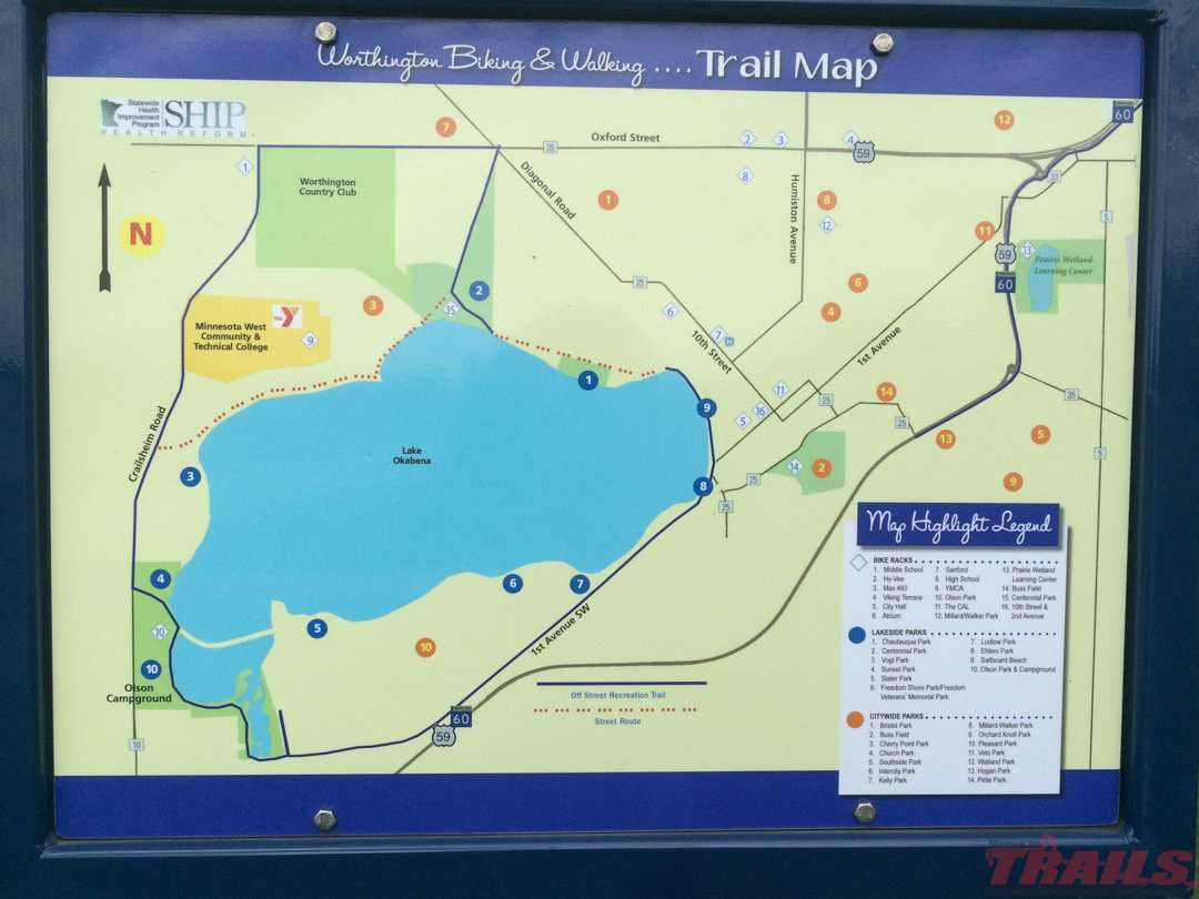 The Okabena Lake trail is a combination of on and off-road bike routes