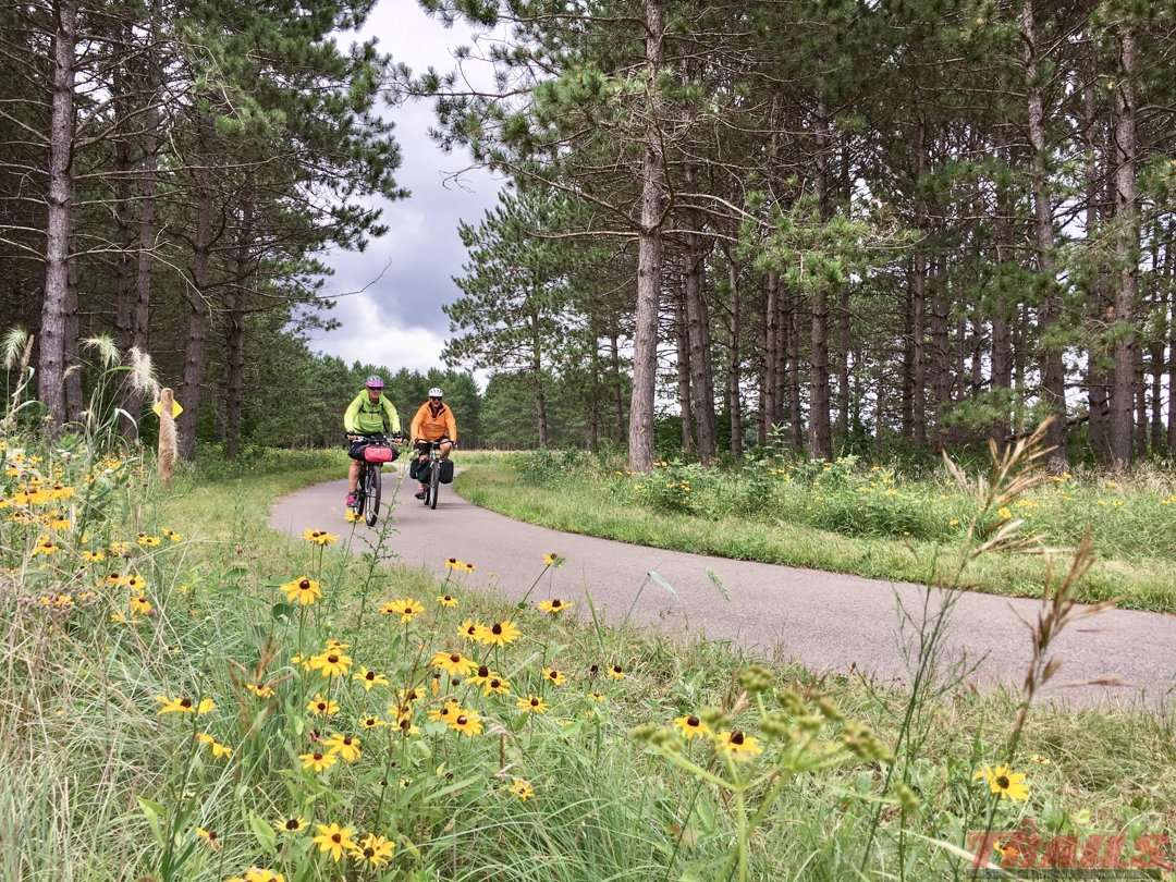 Long-Distance bikepackers at Crow Wing State Park on the Paul Bunyan Trail