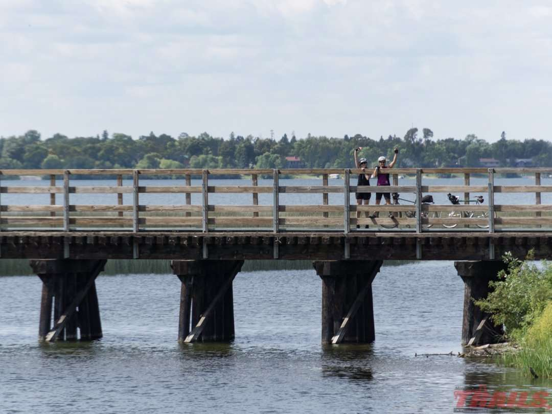 The Paul Bunyan Trail crosses the young Mississippi River as it exits Lake Bemidji