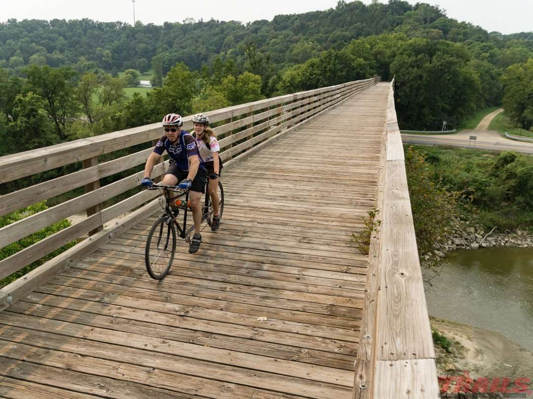 The trestle bridge at Red Jacket Park crosses the Le Sueur River and is about 500 feet long on the Red Jacket Trail